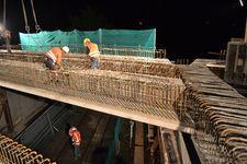 Werksbrücke Nickel, Verlegung der Fertigteile